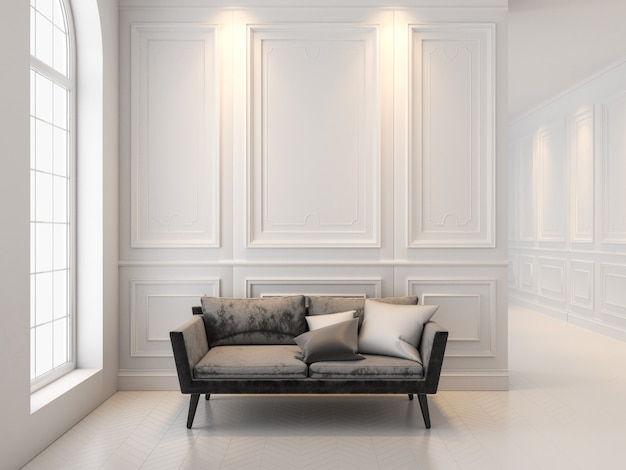 Zwarte bank in klassiek wit interieur. 3d render interieur mock up.