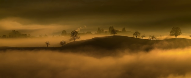 Zwarte bergrand in mist