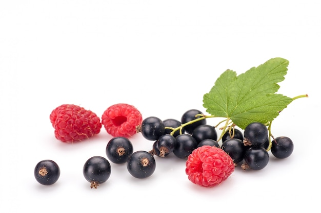 Zwarte bessen met frambozen