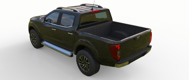 Zwarte bestelwagen voor bedrijfsvoertuigen met dubbele cabine. machine zonder insignes met een schone lege behuizing voor uw logo's en labels. 3d-rendering.