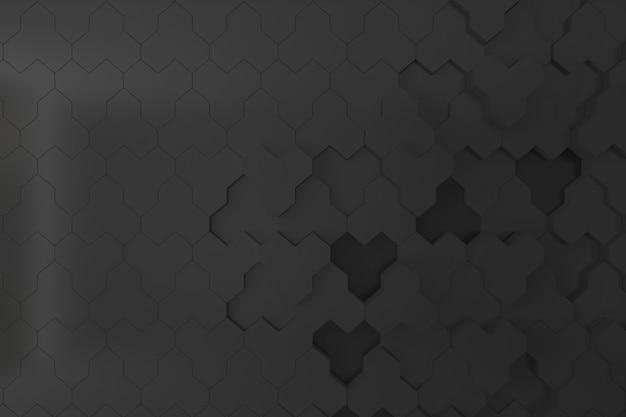 Zwarte bijenkorf vorm 3d muur voor achtergrond, achtergrond of behang