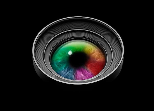 Zwarte cameralens met veelkleurige ogen