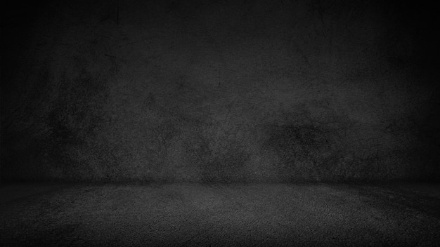 Zwarte cementvloer en muurachtergrond, duisternis