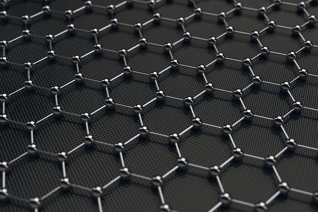 Zwarte chemie abstracte zeshoekige metalen molecuul achtergrondstructuur extreme close-up. 3d-rendering