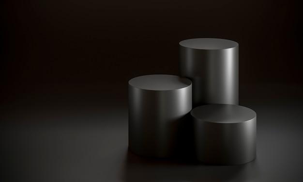 Zwarte cilinders podium concept op zwart.