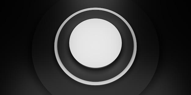Zwarte cirkel display stand ring frame achtergrond cirkel sokkel 3d illustratie