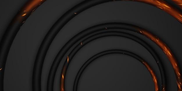 Zwarte cirkel frame achtergrond zwarte achtergrond eenvoudige luxe voor plakken tekst 3d illustratie