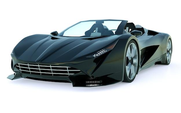 Zwarte conceptuele sportcabriolet voor het rijden door de stad en racebaan op een witte achtergrond. 3d-rendering.