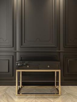 Zwarte console met goud in klassiek zwart interieur. 3d render illustratie.