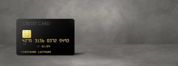 Zwarte creditcard sjabloon op een betonnen banner als achtergrond. 3d illustratie