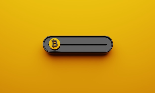 Zwarte crypto-valuta's bitcoin-schuifbalk op gele achtergrond Premium Foto