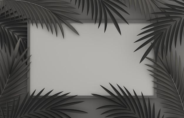 Zwarte de decoratieachtergrond van de vrijdagverkoop met palmbladen en frame