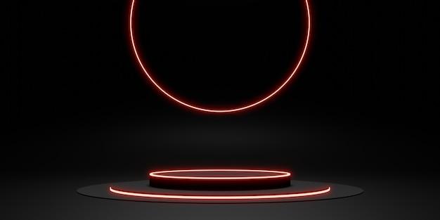 Zwarte displaystandaard laserring en neonlichtgloed 3d illustratie