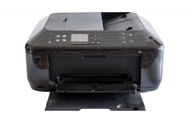 Zwarte document printer toner en kleuren, geïsoleerd op de achtergrond