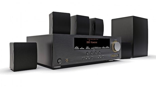 Zwarte dvd-ontvanger en home cinema-systeem met luidsprekers en subwoofer