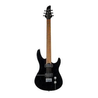 Zwarte elektrische gitaar geïsoleerd over wit oppervlak
