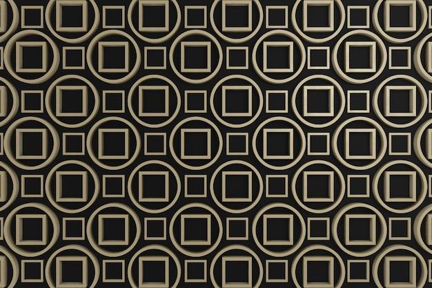 Zwarte en bruine cirkel en vierkante 3d afbeelding voor wanddecoratie, achtergrond, achtergrond of behang.