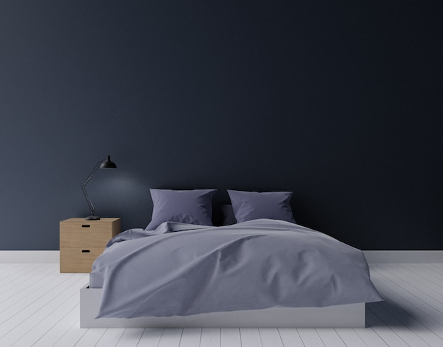 Zwarte en donkergroene moderne slaapkamer, het 3d teruggeven