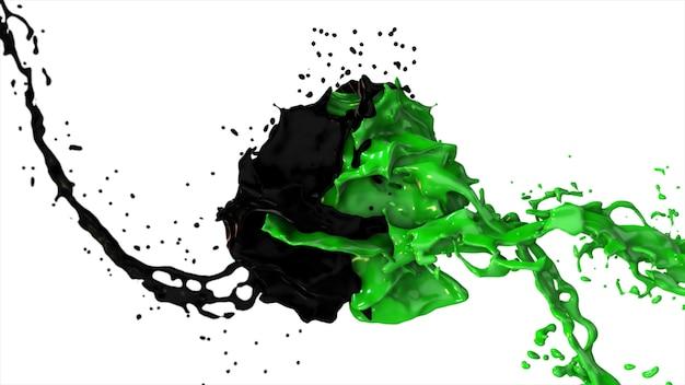 Zwarte en groene vloeistof botsen, druppels ploeteren vliegen naar de zijkanten op een witte achtergrond