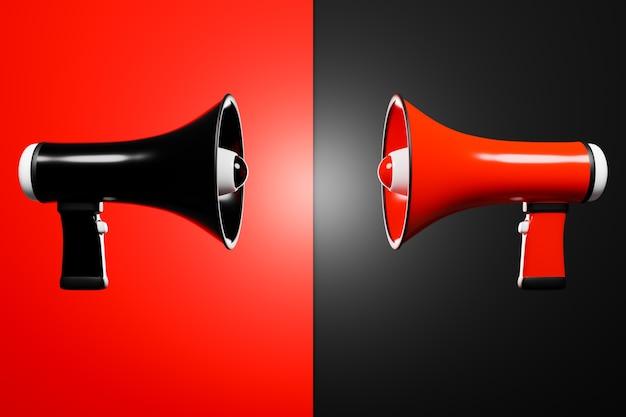 Zwarte en rode cartoonluidsprekers op rood en zwart