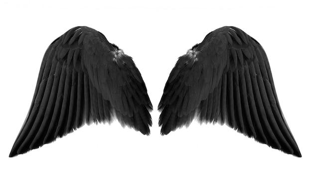 Zwarte engelenvleugels die op witte achtergrond worden geïsoleerd