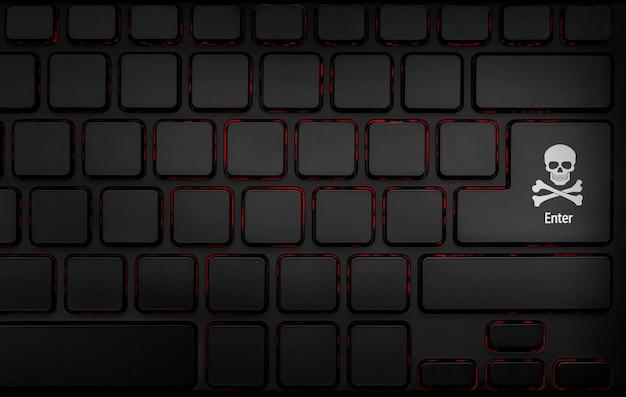 Zwarte enter-toets met piratensymbool