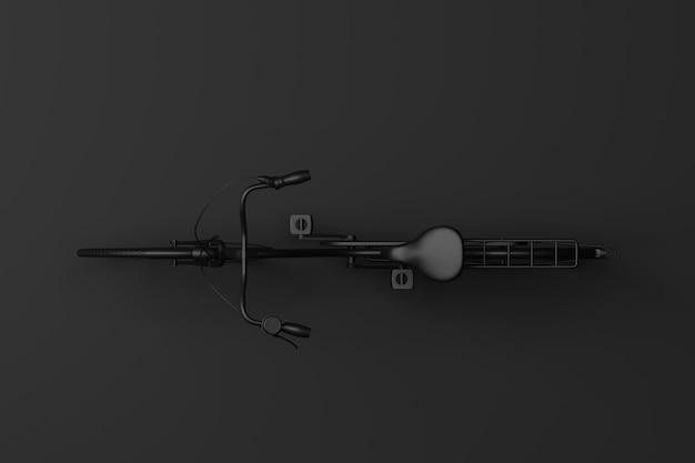 Zwarte fiets in de donkere kamer. 3d-weergave.