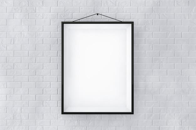 Zwarte fotolijst op een bakstenen muur extreme close-up