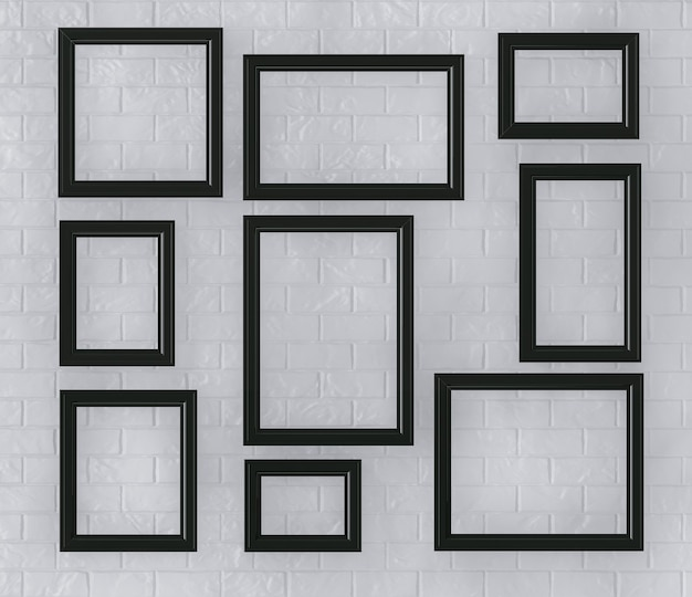 Zwarte fotolijsten op een bakstenen muur extreme close-up