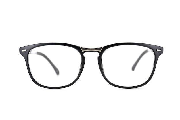 Zwarte frame oogglazen die op witte achtergrond worden geïsoleerd.