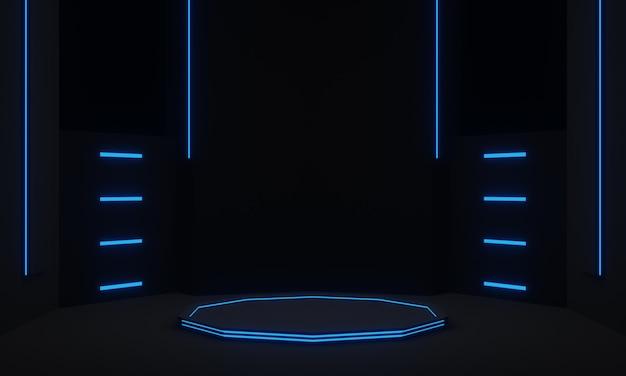 Zwarte futuristische standaard met blauwe neonlichten wetenschappelijk podium
