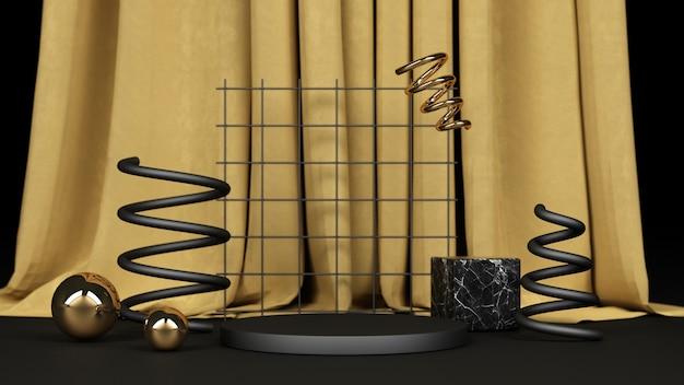 Zwarte geometrische vorm met zwart en goud marmer met een productstandaard