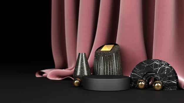 Zwarte geometrische vorm met zwart en goud marmeren materiaal en roze stoffen achtergrondweergave
