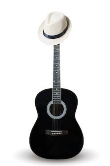 Zwarte gitaar met het dragen van een witte hoed.