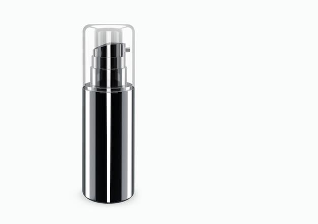 Zwarte glanzende spray bootle mockup geïsoleerd van de achtergrond: shampoo plastic bootle pakketontwerp. blanco sjabloon voor hygiëne, medische, lichaams- of gezichtsverzorging. 3d illustratie