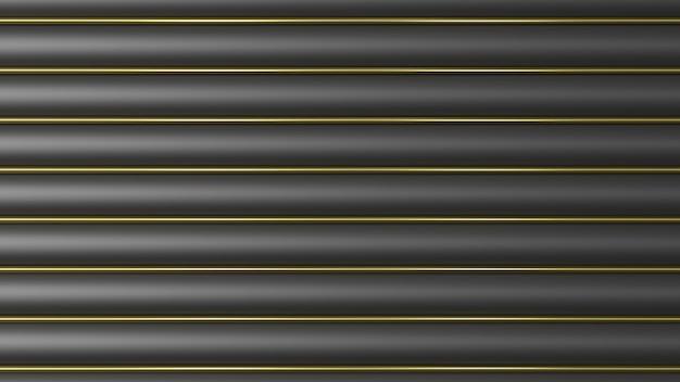 Zwarte gouden achtergrond van cilinders 3d render