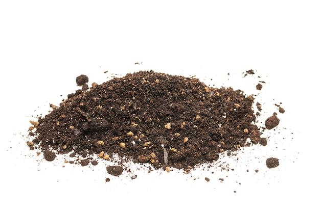 Zwarte grond voor planten geïsoleerd op wit