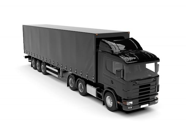 Zwarte grote geïsoleerde vrachtwagen geïsoleerd op wit