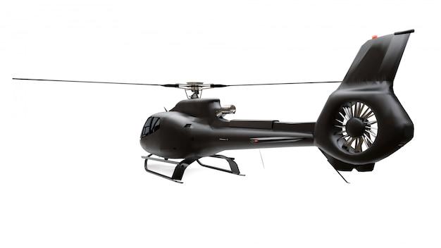 Zwarte helikopter die op de witte ruimte wordt geïsoleerd. 3d-weergave.