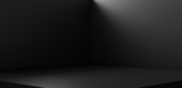 Zwarte hoekkamer achtergrond en lege interieur donkere muur op abstracte lege vloer ruimte indoor achtergrond behang met showroom van productsjabloon of podium sokkel scene studio. 3d-weergave.