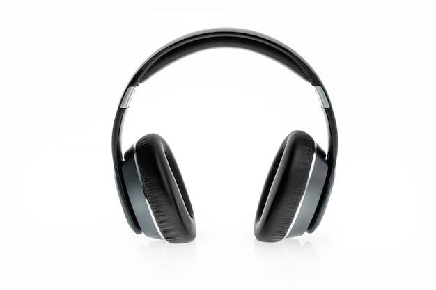 Zwarte hoofdtelefoon die op wit wordt geïsoleerd