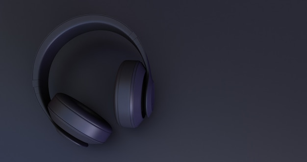 Zwarte hoofdtelefoon op zwarte achtergrond. 3d render