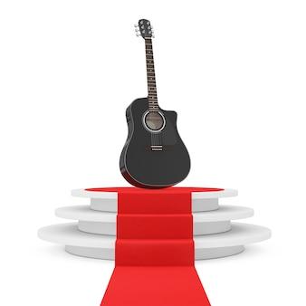 Zwarte houten akoestische gitaar over ronde witte sokkel met stappen en een rode loper op een witte achtergrond. 3d-rendering