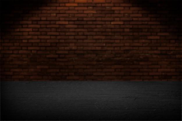 Zwarte houten plank met bakstenen muur