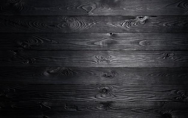 Zwarte houten tafel met lege ruimte