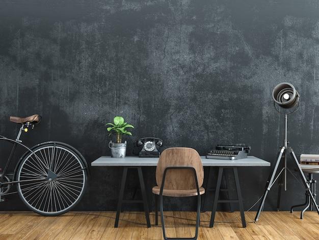 Zwarte kamer ingericht in vintage stijl. 3d-rendering.