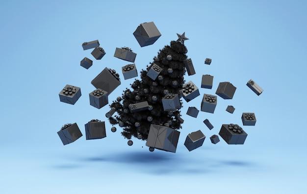 Zwarte kerstboom drijvend met hoop zwarte geschenkdozen op blauwe studio
