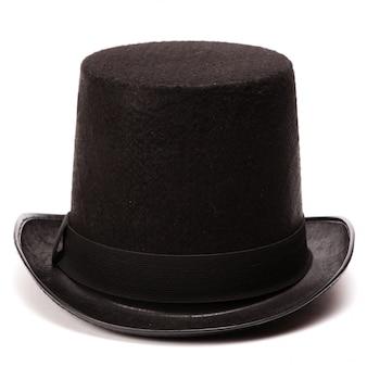 Zwarte klassieke hoge hoed, geïsoleerd op wit met natuurlijke schaduw en reflectie