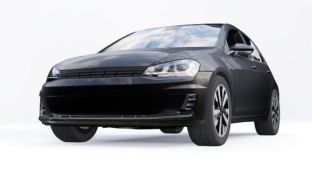 Zwarte kleine gezinsauto hatchback op witte achtergrond. 3d-rendering.