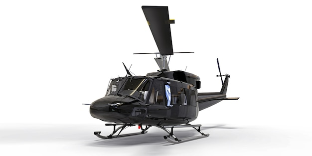 Zwarte kleine militaire transporthelikopter op wit geïsoleerde achtergrond